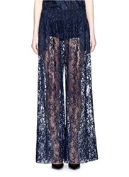 Ms Min Floral Tulle Lace Pants Blue
