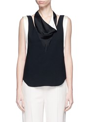 Lanvin Satin Drape Neck Sleeveless Crepe Top Black