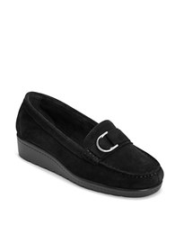 Aerosoles Parisian Suede Wedge Loafers Black Suede