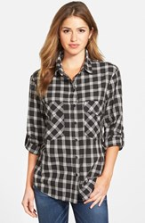 Women's Sanctuary Plaid Flannel Boyfriend Shirt Black White