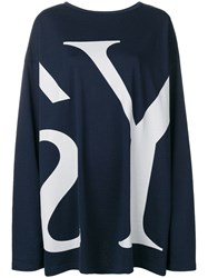 Y's Colour Block Fitted Sweater Blue