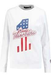 Love Moschino Printed Cotton Blend Jersey Sweater White