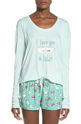 Bp. Undercover Graphic Sleep Set Blue Pastel A Latte Love
