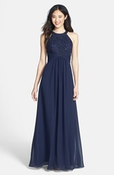 Women's Eliza J Beaded Lace And Chiffon Gown