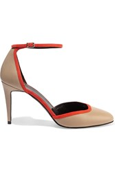 Pierre Hardy Suede Trimmed Leather Pumps Nude