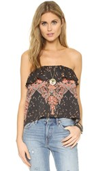 Free People Flounce Tube Top Black Combo