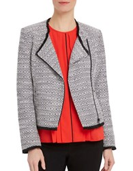 Ellen Tracy Asymmetrical Zip Tweed Blazer Black