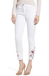 Jen7 Embroidered Ankle Skinny Jeans White M