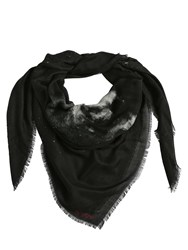 Valentino Moon Dust Silk And Cashmere Scarf Black