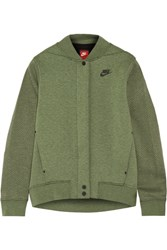 Nike Tech Fleece Perforated Cotton Blend Jersey Jacket Army Green