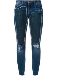 Dolce And Gabbana Distressed Jeans Women Silk Cotton Polyester Glass 36 Blue