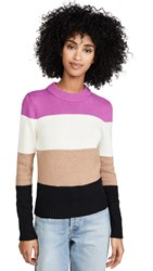 Bop Basics Wide Stripe Roll Neck Sweater Fuchsia Camel White Black