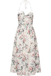 Zimmermann Jasper Cutout Printed Cotton Voile Halterneck Midi Dress Pastel Pink
