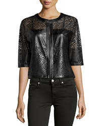 Grayse Laser Cut Faux Leather 3 4 Sleeve Jacket Black