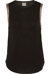 Haute Hippie Embellished Stretch Jersey Top Black