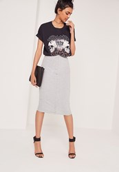 Missguided Ribbed Popper Through Maxi Skirt Grey Marl Grey