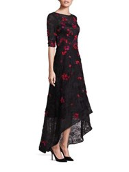 Rickie Freeman For Teri Jon Embellished Lace Hi Lo Gown Black Red