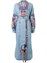 Yuliya Magdych Harvest Embroidered Wrap Dress Linen Flax L Blue