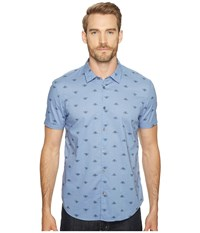 John Varvatos Mayfiled Slim Fit Sport Shirt With Cuffed Short Sleeves W443t1b Water Blue Men's Clothing
