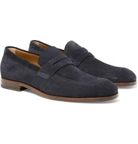 Hugo Boss Brighton Suede Penny Loafers Blue
