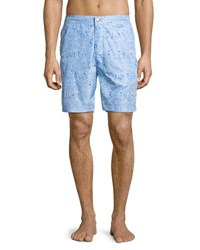 Peter Millar Collection Sardinia Streets Swim Trunks Blue Cielo
