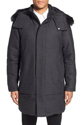 Men's Theory 'Dillan' Trim Fit Hooded Longline Coat With Genuine Coyote Fur Trim
