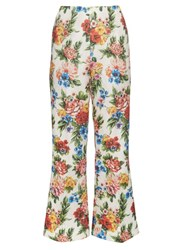 Emilia Wickstead Sammy Woven Floral Gazar Trousers White Multi