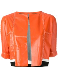 Aviu Cropped Short Sleeve Jacket Yellow Orange