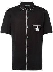 Dolce And Gabbana Embroidered Crown Shirt Black