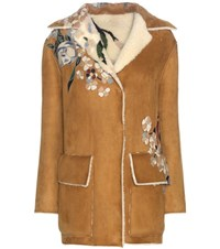 Valentino Shearling Lined Suede Jacket Brown