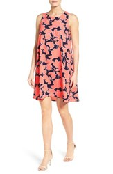 Halogenr Women's Halogen A Line Shift Dress Navy Coral Wild Floral
