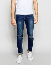 New Look Skinny Fit Jean In Stonewash Blue With Rips Blue