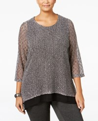 Jm Collection Plus Size Sequined Knit Top Only At Macy's Eggshell