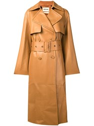 Roberto Cavalli Silk Lined Trench With Fringe Brown