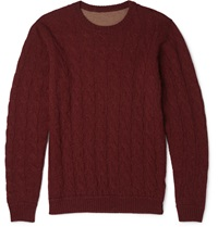 Incotex Reversible Cable Knit Camel Sweater Red