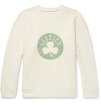 The Elder Statesman Nba Boston Celtics Printed Brushed Cashmere Blend Sweatshirt Green