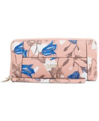Guess Delaney Large Zip Around Wallet Floral Multi
