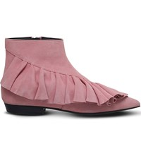 J W Anderson Ruffle Suede Booties Pale Pink