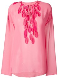 Giamba Feather Detail Top Pink