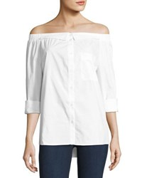 5Twelve Button Down Off Shoulder Blouse White