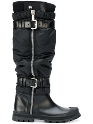 Diesel Black Gold Ruched Buckle Boots Leather Nylon Rubber Black