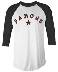 Famous Stars And Straps Men's Sickstep Cotton Graphic Print Raglan Sleeve T Shirt White