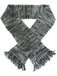 Ymc Striped Tassel Scarf Grey