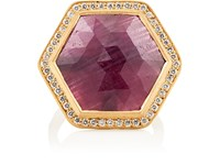 Malcolm Betts Women's Hexagonal Ruby And White Diamond Ring No Color