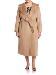 Marina Rinaldi Plus Size Tatto Virgin Wool Alpaca And Mohair Wrap Coat Camel