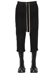 Rick Owens Cropped Check Camel And Linen Pants Black