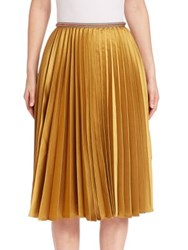 Leur Logette Accordion Pleated Skirt Yellow