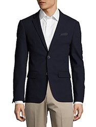 Sand Slim Fit Wool Textured Blazer Navy