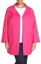 Plus Size Women's Gallery Button Detail A Line Raincoat Perfect Pink