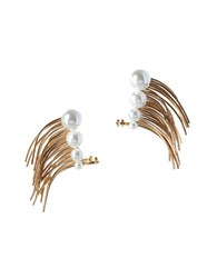 Bcbgeneration Pearl Group Faux Pearl And 12K Yellow Goldplated Climber Cuff Earrings